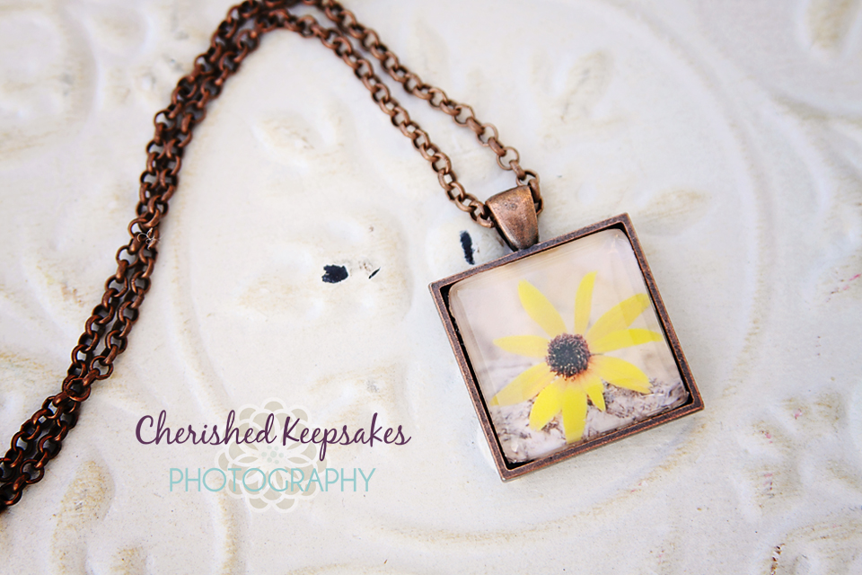 Black-Eyed Susan Flower Photo Pendant Necklace